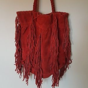 Handbags - Large Heavy Red Suede material tote/bag w/ fringe